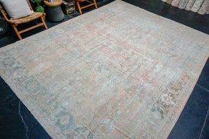 9'3 x 12'6 Classic Antique Sultanabad Rug Sand Beige and Copper 60's Carpet