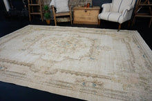 Load image into Gallery viewer, 7'5 x 10'10 Vintage Oushak Rug Seafoam Blue, Blush Pink and Beige Carpet