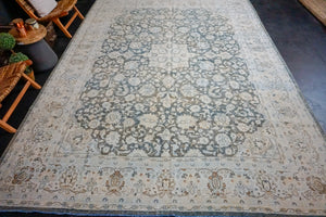 9'8 x 13' Classic Vintage Sultanabad Rug Cream + Deep Sea Blue 60's Carpet