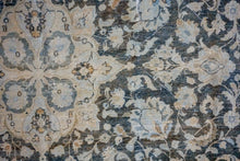 Load image into Gallery viewer, 9'8 x 13' Classic Vintage Sultanabad Rug Cream + Deep Sea Blue 60's Carpet