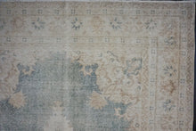 Load image into Gallery viewer, 4'11 x 8' Oushak Rug Deep Forest Green and Beige