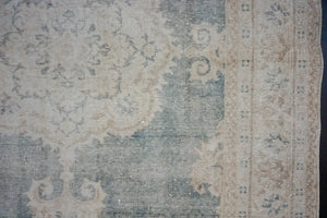 Hold for C til 9/26*4'11 x 8' Oushak Rug Deep Forest Green and Beige