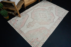 4'7 x 7'1 Vintage Oushak Rug Baby Pink and Blue