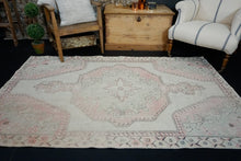 Load image into Gallery viewer, 4'7 x 7'1 Vintage Oushak Rug Baby Pink and Blue