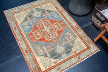 Load image into Gallery viewer, Sold 5/16*4'4 x 7' Vintage Oushak Rug Pink, Sky Blue & Gold