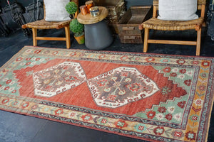 4'2 x 9' Oushak Rug Red, Mint and Gold Vintage Carpet