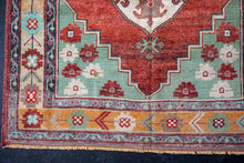 Load image into Gallery viewer, 4'2 x 9' Oushak Rug Red, Mint and Gold Vintage Carpet