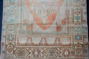 3'2 x 5'8 Oushak Rug Tan, Coral-Apricot and Teal Vintage Carpet