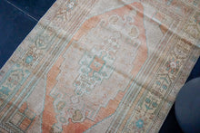 Load image into Gallery viewer, 3'2 x 5'8 Oushak Rug Tan, Coral-Apricot and Teal Vintage Carpet