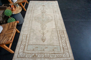 Sold 10/12*4' x 9'2 Vintage Oushak Rug Pink-Beige, Brown + Blue Handmade Carpet