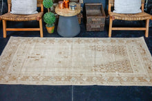 Load image into Gallery viewer, 3'5 x 7'4 Vintage Oushak Rug Beige, Camel and Sea Foam Handmade Carpet