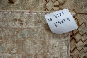 3'5 x 7'4 Vintage Oushak Rug Beige, Camel and Sea Foam Handmade Carpet