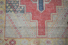Load image into Gallery viewer, 3'7 x 8' Vintage Oushak Runner Muted Red, Yellow, Blue