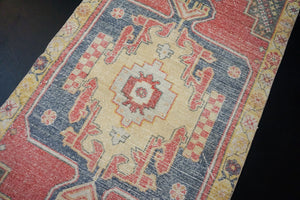 3'7 x 8' Vintage Oushak Runner Muted Red, Yellow, Blue