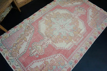 Load image into Gallery viewer, 4'2 x 7'2 Vintage Oushak Rug Coral Pink, Blue & Cream