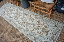 Load image into Gallery viewer, 2'9 x 10' Classic Vintage Hamadan Runner Muted Cream, Blue + Tan