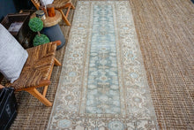 Load image into Gallery viewer, 3'5 x 9'6 Classic Vintage Hamadan Runner Muted Sea Blue + Beige