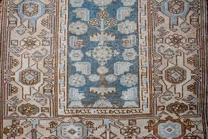 3'5 x 9'6 Classic Vintage Hamadan Runner Muted Sea Blue + Beige