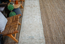 Load image into Gallery viewer, 2'2 x 8' Vintage Heriz Runner Muted Beige, Brown and Sea Blue