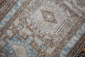 3'1 x 11'9 Vintage Heriz Runner Muted Beige, Brown and Sea Blue