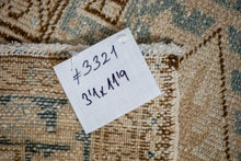 Load image into Gallery viewer, 3'1 x 11'9 Vintage Heriz Runner Muted Beige, Brown and Sea Blue