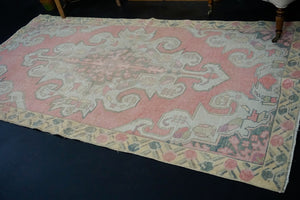 4'2 x 7'10 Vintage Oushak Runner Coral Pink, Yellow and Cream