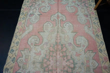 Load image into Gallery viewer, 4'2 x 7'10 Vintage Oushak Runner Coral Pink, Yellow and Cream