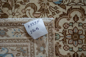 Sold 11/12*2'8 x 13' Vintage Hamadan Runner Cream, Brown and Sky Blue