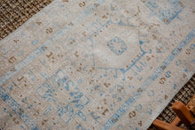 Load image into Gallery viewer, 3' x 10'7 Vintage Heriz Runner Muted Beige + Blue