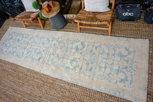 3'2 x 11'5 Vintage Malayer Runner Muted Warm Beige + Blue