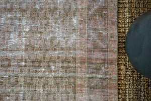 3'7 x 9'6 Vintage Malayer Runner Muted Purple, Pink and Olive