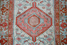 Load image into Gallery viewer, 3'2 x 9'5 Vintage Malayer Runner Soft Cream, Red + Blue