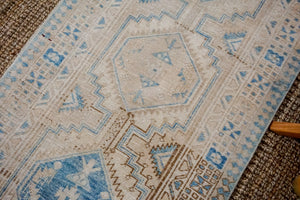 3' x 10'9 Vintage Heriz Runner Muted Cream, Beige + Blue
