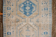 Load image into Gallery viewer, 3' x 10'9 Vintage Heriz Runner Muted Cream, Beige + Blue