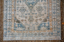 Load image into Gallery viewer, 3'7 x 5'5 Vintage Handmade Malayer Rug Beige, Sea Foam Blue + Camel