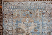 Load image into Gallery viewer, Sold 10/24*3'4 x 8'1 Vintage Handmade Malayer Rug Blues, Beige, Sea Foam Green + Cream