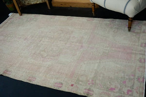 4'3 x 7'5 Vintage Oushak Carpet Pink, Beige and Green