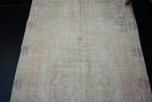 Load image into Gallery viewer, Hold for HJ*4'3 x 7'5 Vintage Oushak Carpet Pink, Beige and Green
