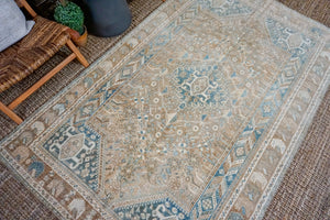 5'2 x 8'5 Vintage Malayer Rug Camel, Tan, Denim Blue + Beige