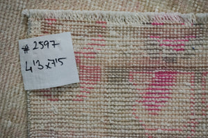 Hold for HJ*4'3 x 7'5 Vintage Oushak Carpet Pink, Beige and Green