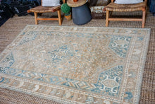 Load image into Gallery viewer, 5'2 x 8'5 Vintage Malayer Rug Camel, Tan, Denim Blue + Beige