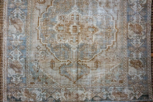 5'5 x 10' Vintage Handmade Malayer Carpet Mocha,  Denim Gray-Blue + Cream