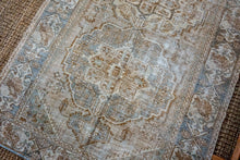 Load image into Gallery viewer, 5'5 x 10' Vintage Handmade Malayer Carpet Mocha,  Denim Gray-Blue + Cream