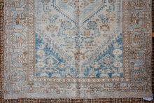 Load image into Gallery viewer, Sold 11/12*4'2 x 6'8 Vintage Malayer Carpet Beige, Blue + Brown