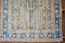 Load image into Gallery viewer, 4'8 x 8' Vintage Handmade Malayer Carpet Grass Green + Denim Blue
