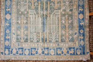4'8 x 8' Vintage Handmade Malayer Carpet Grass Green + Denim Blue