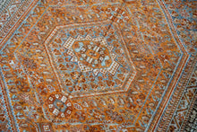 Load image into Gallery viewer, 4'8 x 6'8 Vintage Handmade Shiraz Carpet Copper + Denim & Gray