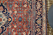Load image into Gallery viewer, 3'4 x 4'10 Classic Vintage Tabriz Carpet Navy, Muted Rose + Cream