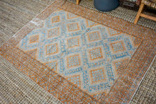 Load image into Gallery viewer, 4'4 x 6' Classic Vintage Shiraz Handmade Carpet Turquoise Blue, Copper + Cream