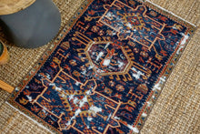 Load image into Gallery viewer, 2'6 x 3'7 Classic Vintage Handmade Carpet Jewel Tones Navy, Red, Gold